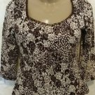 NEW! Women's  Petite INC Brown Ivory Blouse INTERNATIONAL CONCEPTS 3/4 Sleeve P