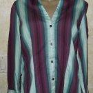 Express Design Studio Women's 3/4 Sleeve Button Cotton Blend L Blouse Striped