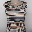 WHITE STAG Women's Sleeveless Tank Top Size L Career Casual Striped Knit Sweater