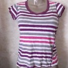 Rue 21 Women's Girls Ladies Top Blouse Shirt Striped Short Sleeve L Large Casual