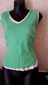 G.H. Bass & Co. Layered Tank Top Green White Sleeveless Size Large 100% Cotton