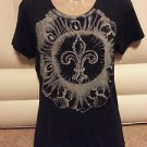 Women's Jeweled Fleur-de-lis Black Blouse WITNESS Short Sleeve Fitted XL