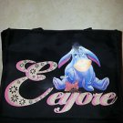 "Disney Handbag Black with Multi Colored Eeyore Official M Nylon 10"" 5"""