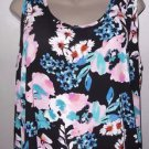 New! Lily White Women's Floral Multi Color XL Open Shoulder Blouse Polyester L/S