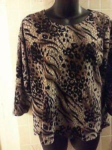 Women's career dress blouse NOTATIONS size XL animal print jaquard poly blend