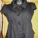 Girls Jrs. solid black short sleeve blouse PARIS BLUES size M 100% cotton flare