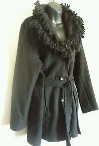 CYNTHIA ROWLEY Sz XL black 100% boiled wool button belted cardigan sweater long
