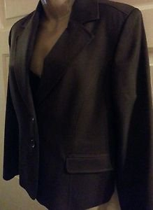 WOMEN'S PENDLETON WOOL LINED HAND TAILORED CAREER BLAZER 16P SOLID BROWN