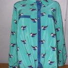 "New! Women's Style&Co Macy's L ""Blue Bird"" Button Down Blouse Large Polyester"