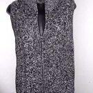 Black white zip front 100% cotton TALBOTS multi-knit sweater vest PS