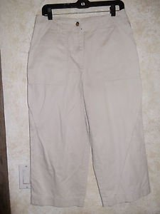 JONES NEW YORK SIGNATURE Womens Capri Cropped Pants Stretch 10 Ivory Beige