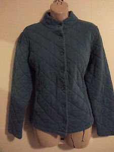 Charter Club Ladies quilted jacket blue xl snap cotton blend pockets