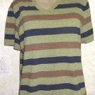 New! Urban Outfitters BDG VNeck Stripe Top Short Sleeve Slim Fit  L Cotton Blend