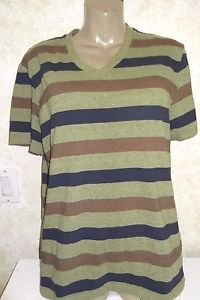 New! Urban Outfitters BDG VNeck Stripe Top Short Sleeve Slim Fit  L Cotton Blend