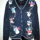 Women's Christmas Sweater PLANET & CO L Snowmen Multi Color Cardigan Vneck L/S