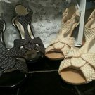 LOT x Two Pair PERLINA PALACE Dressy Sandals High Heels Charcoal & Natural 7.5B