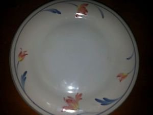 Crown Nouveau small plate saucer fine dinnerware ivory china pink blue flowers