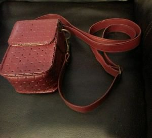 ICON Crossover Cameras Case Bag Protective Pouch Strap PU Leather Dark Red/Brown
