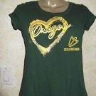 Women's OREGON DUCKS T Shirt Green UNIVERSITY OF OREGON Sz XL Short Sleeve