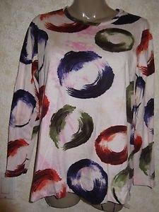 New! Women's VERA WANG Blouse Long Sleeve Multi-Color 100% Cotton Size Large