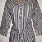 New! Women's CHICO's Blouse Black White Stripe Sz 0 Button Career 100% Cotton