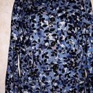 Women's Charter Club XL Blue Floral Blouse Lightweight Jacket Long Sleeve Casual