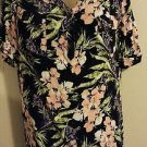 NEW! Women's CROFT & BARROW blouse L rayon multi-color floral vneck short sleeve