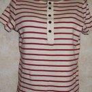 New! Women's LRL Lauren Jeans Co. Ivory Red Stripe Knit Top Short Sleeve Sz M