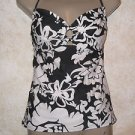 Women's white and black floral tanktini swimwear top EXHILIRATION S/M
