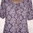 Women's V Neck Blouse EYESHADOW Sz L Casual Floral Purple White 1/2 Slv Poly/Cot