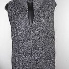New! Black white zip front 100% cotton TALBOTS multi-knit sweater vest Small S