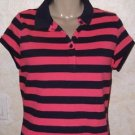 New! Women's LIZ CLAIBORNE rugby polo fuchia blue striped casual cap sleeve