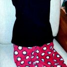 Women's 2pc pajama set penguins soft red cotton pants L & black rib tank plus 1X