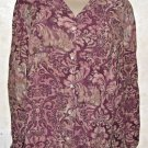 New Women's LIZ CLAIBORNE Multi-Color Paisley Floral Blouse XL Rayon Long Sleeve