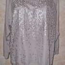 Women's CALVIN KLEIN Gray Silk Sequined Long Sleeve Blouse Knit Top Size Large