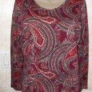 New!  Women's CROFT & BARROW M Red Multi-Color Paisley 100% Cotton L/S Blouse