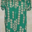 Women's Jrs. FOREVER 21 S/P Shirt Dress Green Tan Polka Dot Short Sleeve Casual