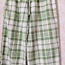 Women's NINA CAPRI Sleep Pants Casual Lounge Green White Polyester Size L