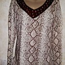 NWT! Women's CRUEL Blouse M Snakeskin Print V Neck Back Front Suede Metal Rings