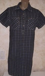 Women's ERICA & CO. Heavy Cotton TShirt Dress Size M Multi-Color Plaid S/S
