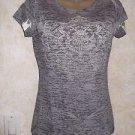 Women's Jrs. Knit Top M Tissue Print Gray White M Cotton Blend Semi Sheer Blouse