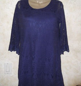 Women's H&M DIVIDED US 10 EUR 40 Purple Lined Crochet Dress Above Knee Lace 3/4