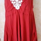 New!  American Rag Cie Dark Red Tunic Spaghetti Strap Shark Bite Hem Size Large
