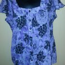 DRESSBARN women's purple black blouse M s/s floral crinkle anywear polyester