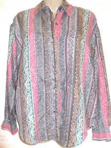 New! Women's SOPHISTICATES Petites Silk Blouse Multi Colored Button Career Casua