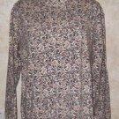 ST JOHNS BAY knit top 100% cotton mock neck layering L multi color long sleeve