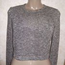Women's Jrs. FOREVER 21 Size Small Long Sleeve Semi Sheer Silver Metallic Crop