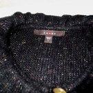 New! Women's cardigan sweater FEVER L acrylic/cotton/polyester s/s black flecks