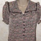 New Women's blouse by American Rag size S sheer button down praire style ruffled