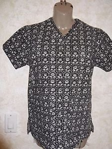 Peaches Black White Flower Floral Scrub Top Medium Front Apron Pockets Side Slit